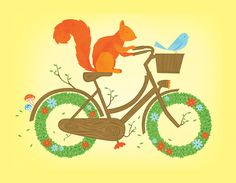 Natural Cycles Art Print  squirrel, bike, bicycle, ride, cycle, nature, flowers, wood, tree, art, illustration, forest, poster,