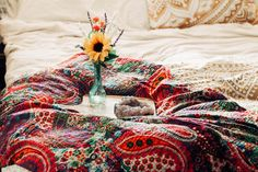 ☾☽ Lady Scorpio ☆ @LadyScorpio101  LadyScorpio101.com ✦ Bohemian Bedroom Decor // Kantha Quilts Sunflowers & Crystals