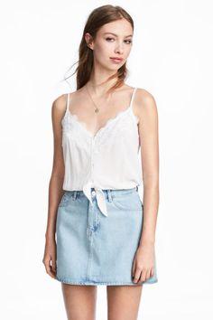 Top de anudar corto - Blanco - MUJER | H&M ES 1
