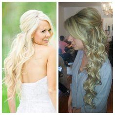 bridal hair. Wedding hair. long hair. extensions. Blonde. Half up style.