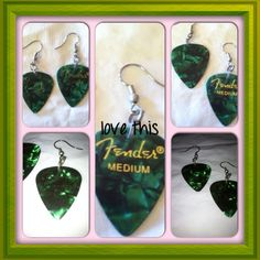 You rock in these hand-made guitar pick earrings ! Hand made from real guitar picks, you will be the rock star of the party! Many colors to choose from. Can be made with sterling earwire upon request. New. Jewelry Earrings