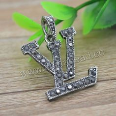 Zinc alloy rhinestone charm in antique silver plating with hematite stones, LV symbol, Approx 28x20x2mm, Hole: Approx 4mm, 100 pieces per bag, Sold by bags