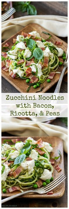 Zucchini Noodles with Bacon Ricotta, and Peas - delicious, low carb, easy to make dinner! Zoodle Recipes, Pea Recipes, Spiralizer Recipes, Vegetable Recipes, Low Carb Recipes, Dinner Recipes, Cooking Recipes, Healthy Recipes, Vegetable Spiralizer