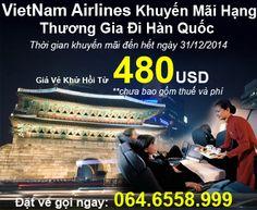 VietNam Airlines Khuyến Mãi Hạng Thương Gia Đi Hàn Quốc Giá Vé Khứ Hồi Từ 480USD