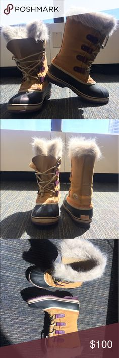 Sorel Winter Boots Black, tan, and purple women's Sorel boots! In excellent condition. Size 7 but fit more like 9's! Sorel Shoes Winter & Rain Boots