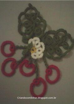 Cerejas de frivolitê. Montagem e padrão no blog criandocomlinhas.blogspot.com.br