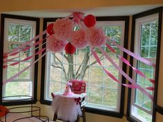 "Cute idea for a girl's birthday party: Instead of a ""white party,"" a ""Pink Party!""  Ideas and links for where to buy at Simple/Fancy/Fun -  girl's 1st birthday party ideas - cute decor for a bridal shower, baby shower, or birthday party!"