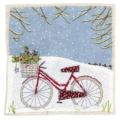 Cards & Stationery Pack Of 8 Mini Bicycle In Snow Woodland Trust Charity Christmas Cards Cello Pack & Garden Hand Applique, Applique Patterns, Embroidery Applique, Quilt Patterns, Freehand Machine Embroidery, Free Motion Embroidery, Free Machine Embroidery, Sewing Art, Sewing Crafts