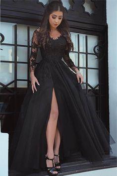 Long Sleeves Prom Dresses #LongSleevesPromDresses, Lace Prom Dresses #LacePromDresses, Prom Dresses Black #PromDressesBlack, Lace Black Prom dresses #LaceBlackPromdresses, 2018 Prom Dresses #2018PromDresses