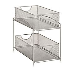 ORG Mesh Steel Mesh Double Sliding Cabinet Basket provides sturdy and attractive storage for a variety of your items. Useful to have on a counter or a shelf, or place it inside a cabinet or cupboard for stacked storage out of sight. Under Sink Organization, Basket Organization, Kitchen Organization, Kitchen Cabinet Storage, Bathroom Storage, Bathroom Ideas, Bathroom Cabinets, Kitchen Pantry, Bathroom Remodeling