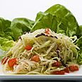 Use cabbage instead of lettuce. http://www.epicurious.com/recipes/food/views/Larb-Chicken-Salad-5680