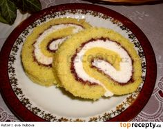 Citronová roláda Cake Roll Recipes, Kolaci I Torte, Rolls Recipe, Onion Rings, Lemon, Cooking Recipes, Sweets, Ethnic Recipes, Food