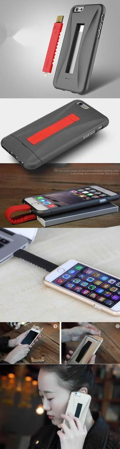 PC Silicone Protection Cable Case Cover Behind with Cable Data for iPhone 6/plus