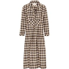 The Great The Popover checked cotton dress ($425) ❤ liked on Polyvore featuring dresses, midnight blue, tartan plaid dress, checkered dress, midnight blue dress, button dress and tartan dress