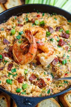 Cajun Shrimp and Andouille Cheese Dip Recipe : A hot melted cheese dip just packed with shrimp and andouille sausage and cajun style flavours! Cajun Shrimp Recipes, Seafood Recipes, Yummy Appetizers, Appetizer Recipes, Cajun Appetizers, Dip Recipes, Cooking Recipes, Donut Recipes, Yummy Recipes