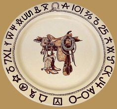 Boots and Saddle Western Ranch Style Cowboy Dinnerware Dishes by True West