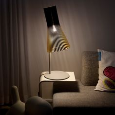 Table lamp Secto / H 75 cm - Secto Design - Lamb idea Bedside Lamps Crystal, Bedside Table Lamps, Bedroom Lamps, Bedroom Ideas, Rustic Floor Lamps, Time To Tidy Up, Modern Lanterns, Wood Waste, Wooden Lampshade