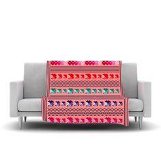 "Famenxt ""Romantic Love Pattern"" Pink Abstract Fleece Throw Blanket"