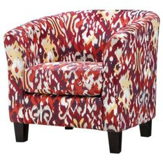 Clearance $125 Portland Tub Chair - Red Ikat