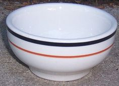 Jackson China Restaurant Ware White with Black and Red Rings Cereal Bowl