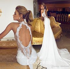 Romantic Open Back Lace Wedding Dresses Mermaid Trumpet Mermaid Wedding Dresses