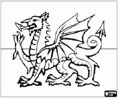 kolorowanka Flaga Walii, Walia kraju, w Wielkiej Brytanii
