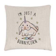I'M Just A Bunnycorn Linen Cushion Cover - Pillow Funny Bunny Rabbit Unicorn