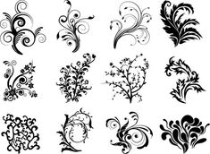 free svg flower file | Free Vector Floral Curves Preview