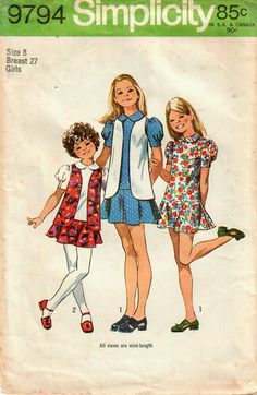 1970s Simplicity 9794 Vintage Sewing Pattern Girls Mini Dress