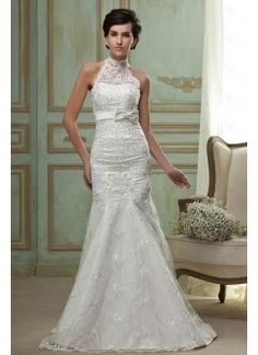Elegant Mermaid High-Neck Sweep Train Lace Embroidery and Bow Wedding Dress