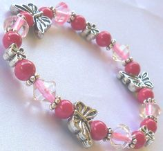 Bracelet, Pink, Butterfly and Daisies, Breast Cancer Awareness Jewelry made by Lavender Daisy on Etsy
