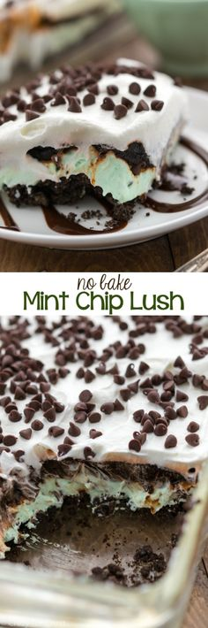 No Bake Mint Chip Lush Dessert filled with layers of cookie crumbs, no bake mint chip cheesecake, and chocolate pudding!