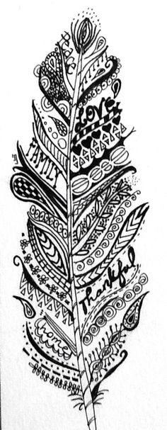 Zentangle feather for gratitude and mindfulness