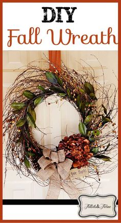How to make an inexpensive fall wreath plus step-by-step instructions for making a fancy bow!