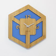 Bamboo Modern Cubic Wall Clock . BLue by HOMELOO on Etsy