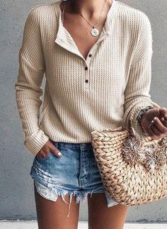 Love the soft comfy feeling of waffle knit! Famulily Women's Waffle Knit Tunic Tops Loose Long Sleeve Button Up V Neck Henley Shirts Beige S Shirts & Tops, Shirt Blouses, Tunic Blouse, Women's Tops, Women's Henley, Henley Shirts, Casual Sweaters, Casual T Shirts, Women's Casual