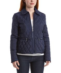 Another great find on #zulily! Navy Peplum Quilted Puffer Jacket by Dollhouse #zulilyfinds