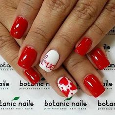 17 red hot Valentine's nails for 2018 - Nail Art HQ Valentine's Day Nail Designs, Acrylic Nail Designs, Nails Design, Acrylic Nails, Acrylic Art, Coffin Nails, Love Nails, Fun Nails, Style Nails