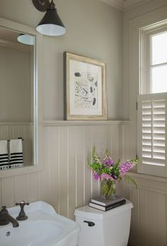 LOVE the wainscot with shelf as well as the idea of painting everything one color