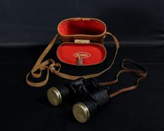 Vintage Yamatar Binoculars, 8 x 40 Glasses, Black w White, Fully Coated Optics, Brown Case, Tooled Leather, Japanese Gadget, Collectible by VintageDecorAddict on Etsy Tooled Leather, Leather Tooling, Pebbled Leather, Leather Case, Brown Leather, Vintage Shelf, Vintage Baskets, Home Interior, Interior Modern