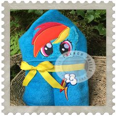 Colorful Horse hooded towel design. #Embroidery #Applique