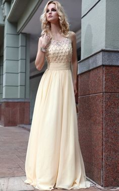 Bateau Floor-length A-line Prom Dress