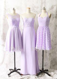 Lavender Chiffon Short Bridesmaid dress Strapless by TaShasha
