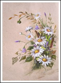 Новости Art Floral, Daisy Drawing, Art Nouveau Flowers, China Painting, Nature Decor, Color Rosa, Fabric Painting, Watercolor And Ink, Vintage Postcards