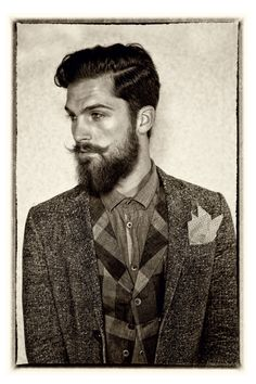 Nice vintage-looking pic. Beard and Moustache spot on! Beards And Mustaches, Moustaches, Hair And Beard Styles, Hair Styles, Epic Beard, Badass Beard, Look Man, Beard Love, Mens Fashion Blog