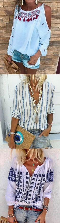 """SHOP Best Casual Tops,Blouse, Shirts for Your Choice.Must Have It! - Best Casual Tops,Blouse, Shirts for Your Choice.Must Have It!""""> Source by - Outfits Casual, Mode Outfits, Casual Dresses, Casual Shirts, Women's Fashion Dresses, Boho Fashion, Womens Fashion, Spring Summer Fashion, Spring Outfits"""