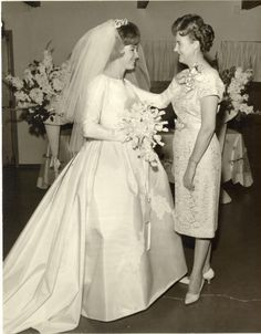 Vintage Brides — 1964 bride Gloria with her mother Wedding Dress Trends, Wedding Attire, Wedding Bride, Wedding Dresses, Vintage Wedding Photos, Vintage Bridal, Vintage Weddings, 1960s Wedding, Bridal Skirts