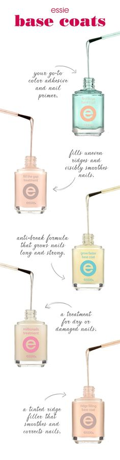Cover your bases with essie. http://www.essie.com/Nail-Care/base-coat.aspx?crlt.pid=camp.LPdEr5zBEPM3&pp=1&utm_content=bufferc0b76&utm_medium=social&utm_source=pinterest.com&utm_campaign=buffer#base-coat