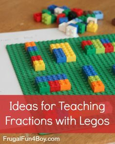 Activities for Teaching Fractions with Legos...love love love legos! hand strength, coordination...you can even place the giant green flat piece on a vertical surface like a wall and have kids work on wrist extension while building strength in their hands.