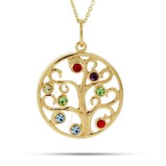 14k yellow or white gold family tree birthstone necklace with names custom family tree necklace with up to 10 birthstones aloadofball Gallery